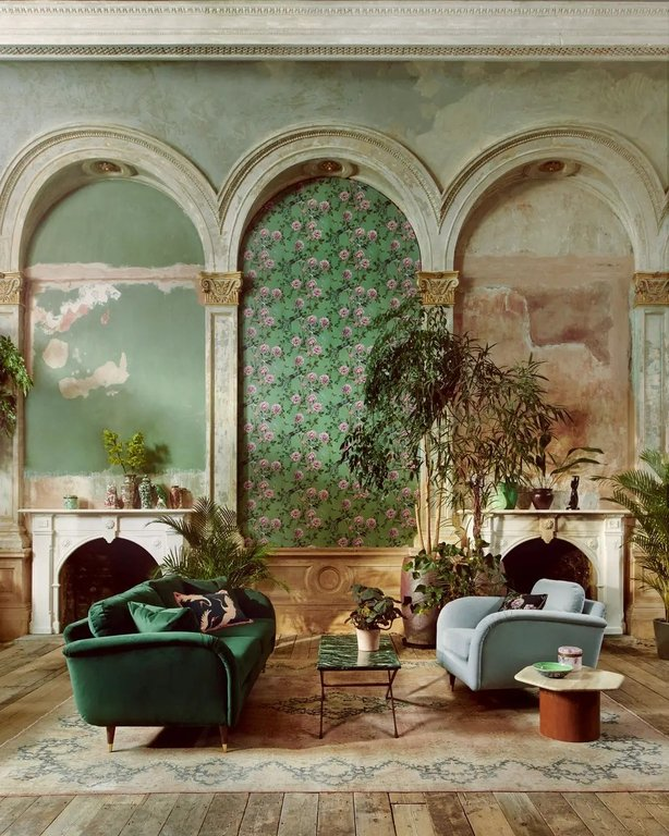 Vintage Chinoiserie Jade Wallpaper, £35 per roll (furnishings from a selection), Paloma Home and Sofology (Michael Sinclair, Olivia Gregory/PA)
