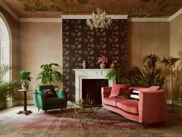 Vintage Botanicals Black Wallpaper, £35 per roll (furnishings from a selection), Paloma Home and Sofology (Michael Sinclair/Olivia Gregory/PA)
