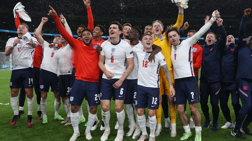 England celebrate their win over Denmark