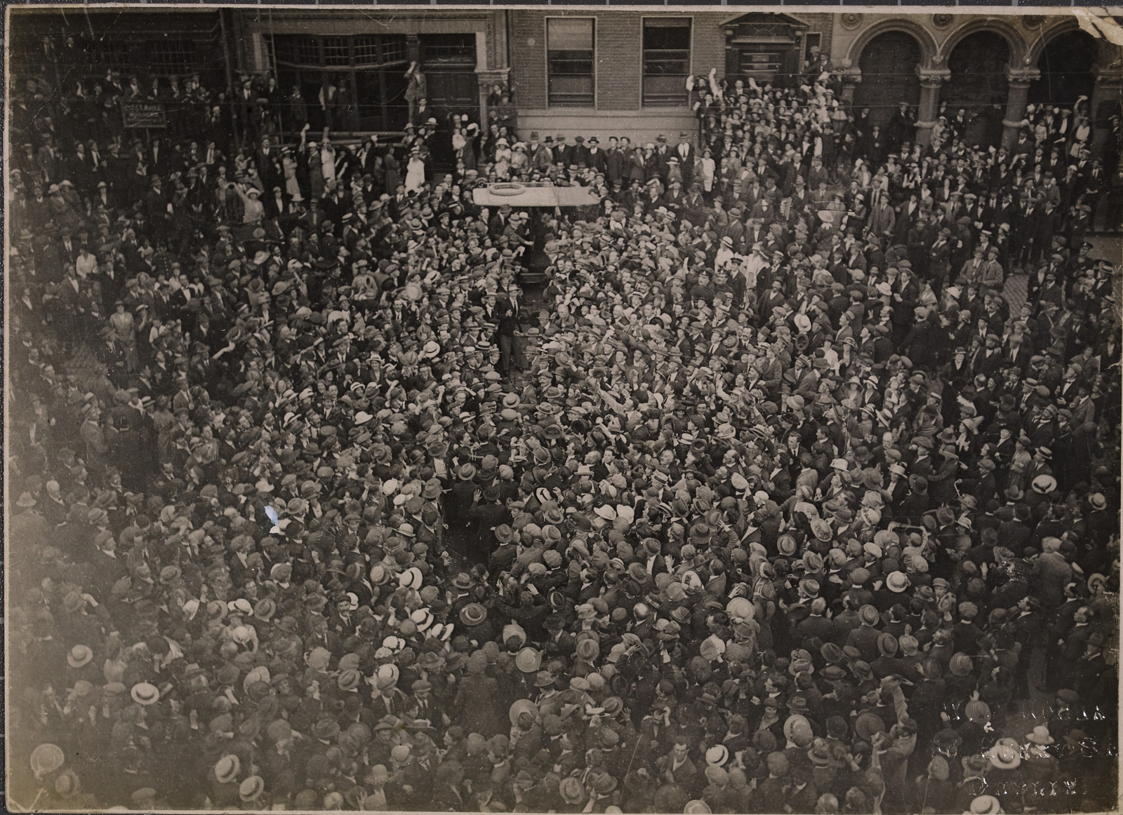 Image - The scenes outside the Mansion House in the days after the Truce were like a combination of film premiere and political rally. (Credit: National Library of Ireland)