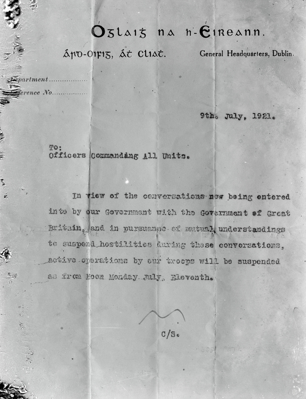 Copy of a letter from the Chief of Staff of the Irish Republican Army (IRA) suspending military operations against the British, dated 9 July 1921.