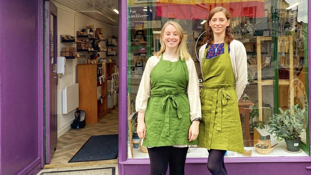 Bláithín McCormick (L) and Maeve McCormick (R) outside their shop the EcoShack