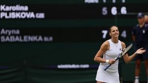 The scoreboard lights up with Karolina Pliskova's name as she edges out Aryna Sabalenka on Centre Court
