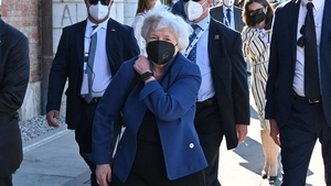 US Treasury Secretary Janet Yellen arriving for the G20 meeting in Venice, Italy