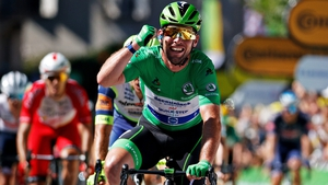 Cavendish crosses the finish line at the end of the 13th stage