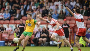Michael Murphy of Donegal in action against Michael Bateson of Derry in the 2018 championship