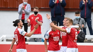 Chris Forrester celebrates with team-mates afte grabbing the only goal