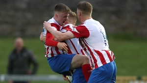 Willie Armshaw (L) celebrates his late leveller