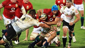 Tadhg Beirne in possession for the lions