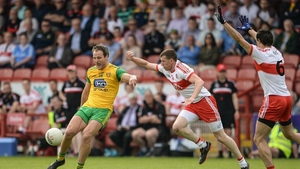 Michael Murphy in action against Michael Bateson of Derry in the 2018 championship