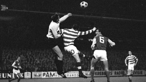 Charlie Gallagher (C) during a match between Celtic and Go Ahead Eagles in 1965
