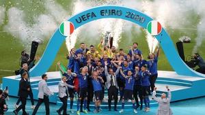 Giorgio Chiellini, captain of Italy lifts the Euro 2020 trophy