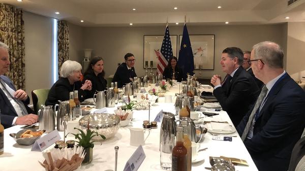 Paschal Donohoe and Janet Yellen met for talks over breakfast in Brussels (Pic: Twitter/@Paschald)