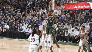 Giannis Antetokounmpo dunks the ball at the Fiserv Forum in Milwaukee