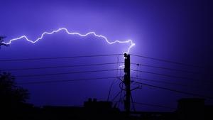 Lightning over Ajmer city during pre monsoon showers  in June