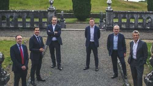 Minister of State at the Department of Trade Enterprise & Employment Robert Troy, IDA Ireland CEO Martin Shanahan, Shane Keating, Des O'Connor and Conor Brennan from The Ardonagh Group and David Ross, CEO of The Ardonagh Group.