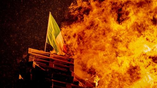 The Irish tricolour was set alight at a bonfire in Belfast
