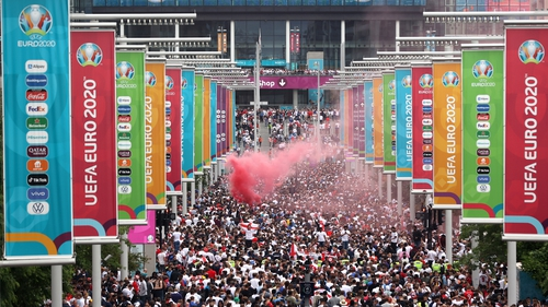 Large crowds, including many ticketless fans, gathered outside Wembley ahead of the Euro 2020 final