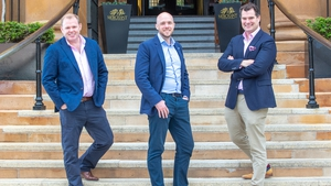 Edward Barroll Brown of Grafton Capital (left) along with Dr Kevin Collins and Tommy Kearns of Xtremepush