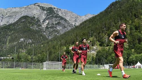 Virgil van Dijk, James Milner, Takumi Minamino and Joel Matip at the Austria training camp