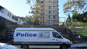 Police were posted outside the apartment block in Sydney's Bondi neighbourhood