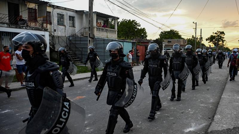 Riot police on patrol in the Arroyo Naranjo Municipality in Havana