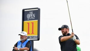 Shane Lowry teeing off at the 11th in his practice round