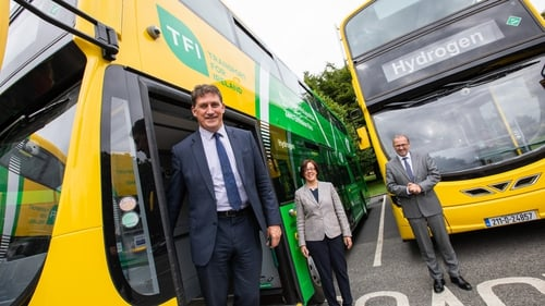 Transport Minister, Eamon Ryan, NTA CEO, Anne Graham and Chief Executive of Bus Éireann, Stephen Kent, at the launch today