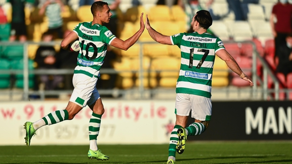 Graham Burke celebrates with team-mate Richie Towell after scoring from the spot against Slovan Bratislava