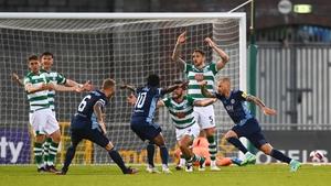 Vladimír Weiss celebrates after scoring against Shamrock Rovers