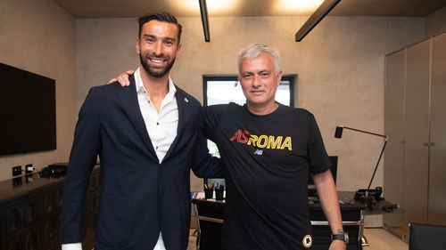 Rui Patricio meets AS Roma coach Josè Mourinho after signing for the Serie A club