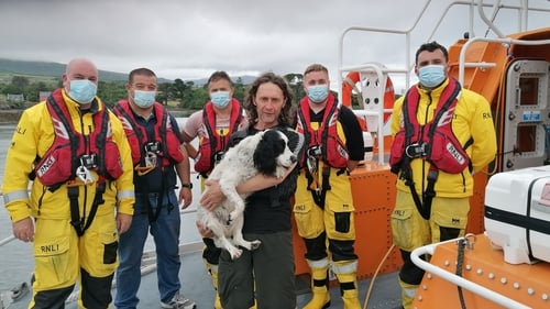 Lucky and his owner spent a cold night on rocks off Cork before being rescued by the RNLI