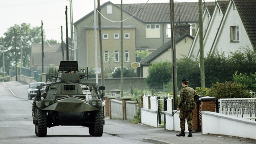 British soldiers in Crossmaglen, Co Armagh in 1981