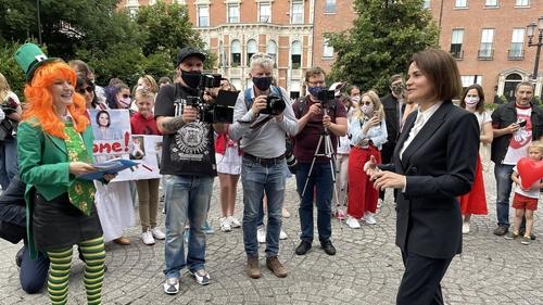 Belarus opposition leader, Sviatlana Tsikhanouskaya meets supporters in Dublin this week (Pic: Franak Viacorka)