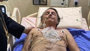 Jair Bolsonaro, seen here in an image posted on his Twitter account, will undergo tests for an obstructed intestine