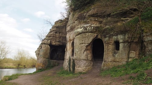 The caves, which were cut out of the soft sandstone rock, had long been considered to be 18th century follies