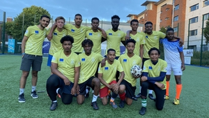 The SARI 2 team after the semi-final of Football for Unity tournament