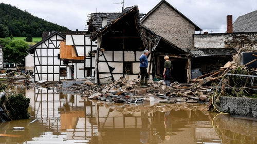 A number of houses were swept away by floods in Schuld, Germany