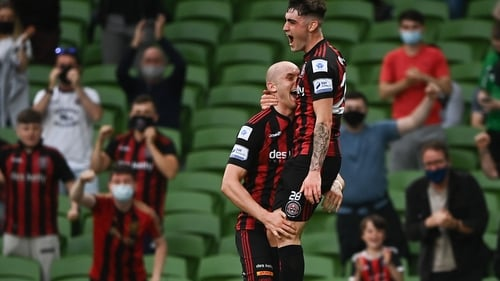 Dawson Devoy leaps into the arms of Georgie Kelly after the latter opened the scoring in last week's win at the Aviva
