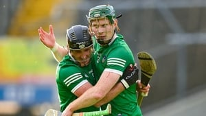 Limerick's Darragh O'Donovan (L) and William O'Donoghue celebrate after their Munster SHC semi-final win against Cork