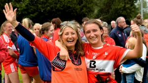 Ceire Nolan and her mother Martina Nolan celebrate after the TG4 All-Ireland Junior Championship semi-final win over Derry