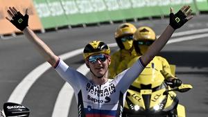 Matej Mohoric celebrates as he crosses the finish line