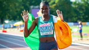 Tallaght AC's Rhasidat Adeleke celebrates her stunning victory in Estonia
