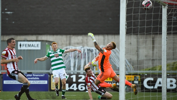 Rory Gaffney scores Shamrock Rovers' third goal