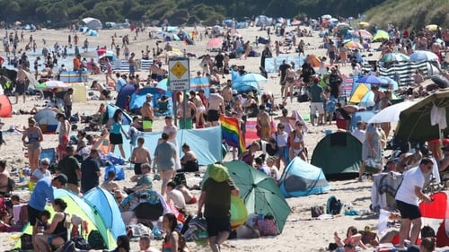 People enjoy the good weather in Brittas Bay