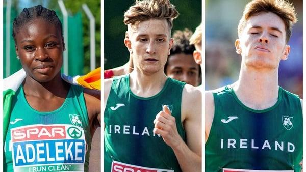 (L to R): Rhasidat Adeleke, Nicholas Griggs and Cian McPhillips