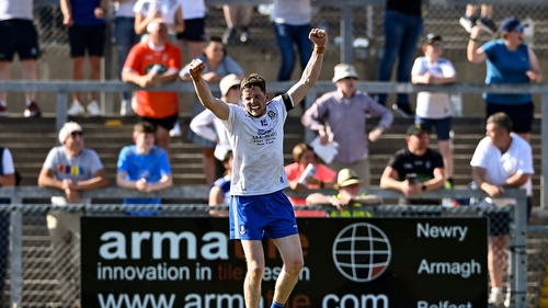 Conor McManus celebrates at the final whistle at Páirc Esler