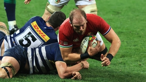 Alun Wyn Jones is tackled at Cape Town Stadium