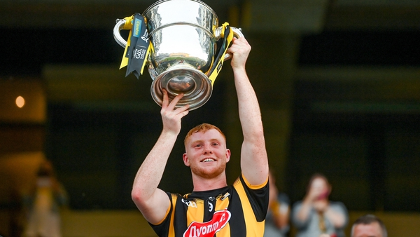 Adrian Mullen of Kilkenny lifts the Bob O'Keeffe Cup