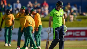 Ireland's Shane Getkate of Ireland walks during the T20 international match at Malahide Cricket Club